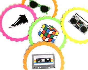 12 Neon 80s Scalloped Embellishments