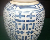 "Beautiful Vintage Blue & White Chinese Export Ginger Jar 9 3/4"" tall"