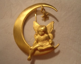 Vintage Signed JJ Goldtone Fairy sitting on Half Moon Brooch/Pin