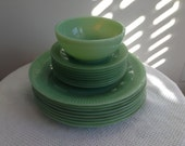 Vintage FireKing Jadeite Bowl & Plate 17 piece Set