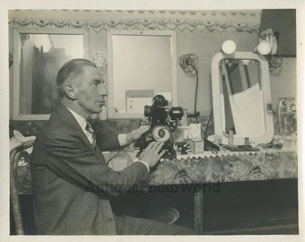 Man with Pathex Movie Projector antique photo