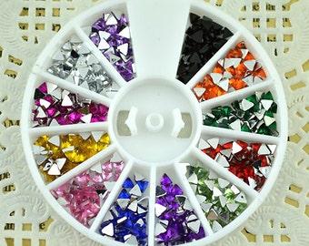 12-color Triangle 3D flatback acrylic Rhinestones of Nail Art Design Glitter Beads Crafts supplies