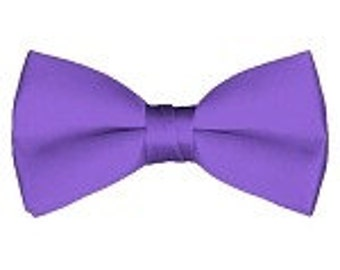 mens Bow tie (pre tied) purple custom made many colors