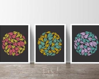 Wind Leaves Art Set of 3 Prints – 8 x 10 or 11 x 14