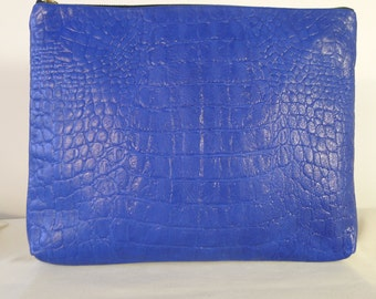 Murata Large Crocodile Zip Clutch-Cobalt