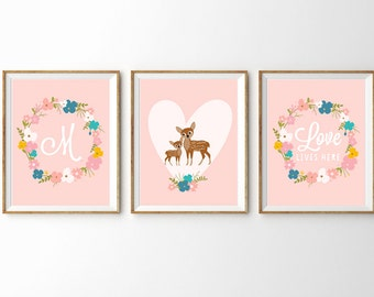 Cute Woodland Bambi Prints for a Baby Girl's Nursery - Set of 3 Prints 10% Discount - Editable Instant Download and Edit with Adobe Reader