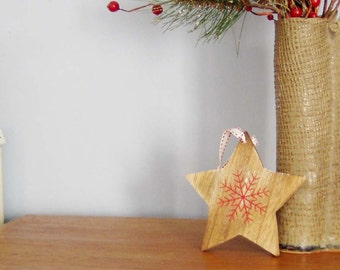 Wooden star with red snowflake, vintage star shaped, Christmas tree ornament, Christmas crafts supplies