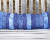 """CLEARANCE: Hand Dyed Blue Striped Cushion Cover- 12""""x32"""" lumbar pillow cover with cerulean, cobalt, sky and navy blue hand dyed stripes"""