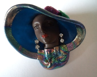 Very Pretty Handpainted Black Lady wearing BlueHat Brooch/Pin