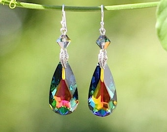 Genuine Swarovski Crystal - Swarovski Teardrop Earrings with Sterling Silver Drop Earrings - DK388