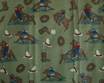 Rodeo Fabric Remnant of 2 1/4 YDS  Cont. Cowboy Fabric Brown Cotton By the yard Western Horse Rider Calf Roping Boot Cowboy Hat Rope