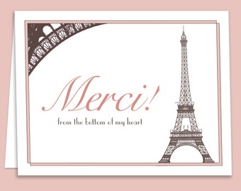 French Paris Theme Thank You Card Downloadable/Printable for Bridal Showers, Weddings or Birthdays