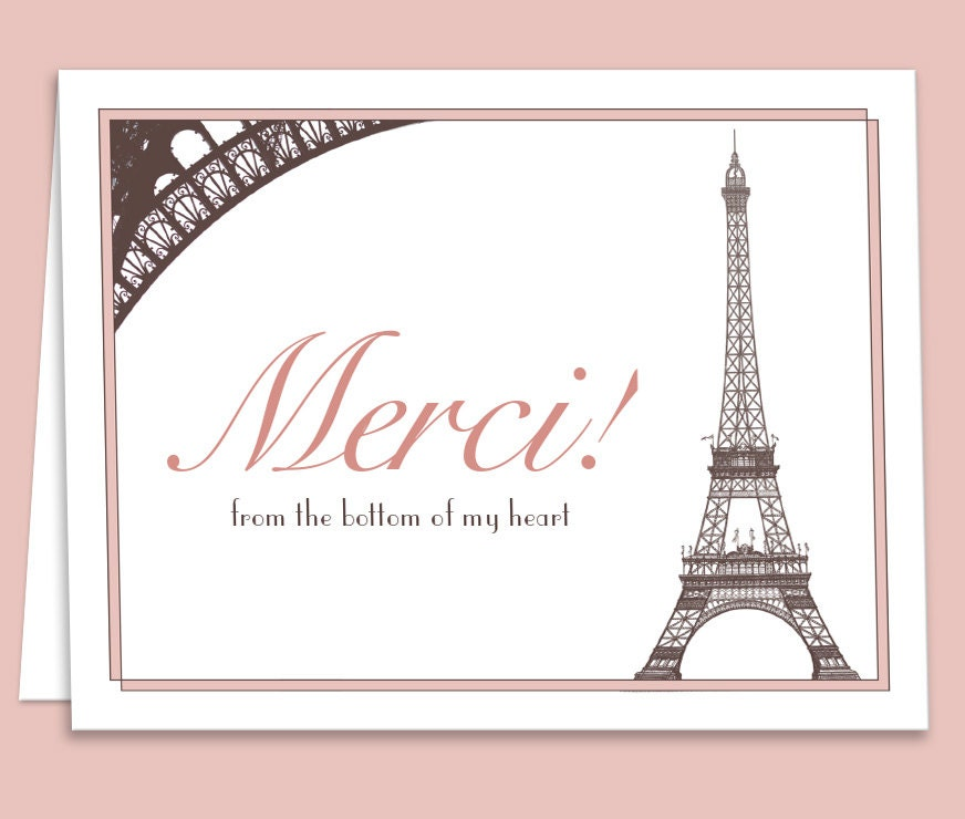 French Paris Theme Thank You Card Downloadable Printable For
