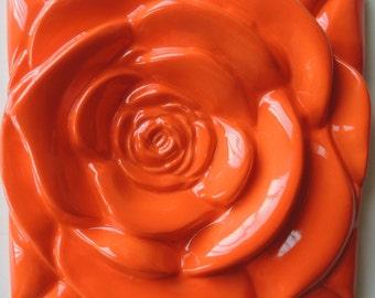 Orange Rose  Orange Rose Tile  Wall Decor