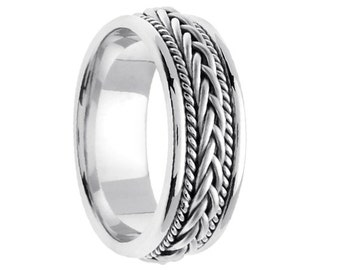 Personalized Engraved 14K White Gold Wedding Band Weave Design 7mm (Free Laser Engraving)