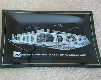 REDUCED First National Bank of Woodstock Vintage Smoke Glass Ashtray
