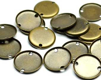 150 Pieces Antique Brass 10 mm Round Disc Drop, Findings ,2 Hole Connectors