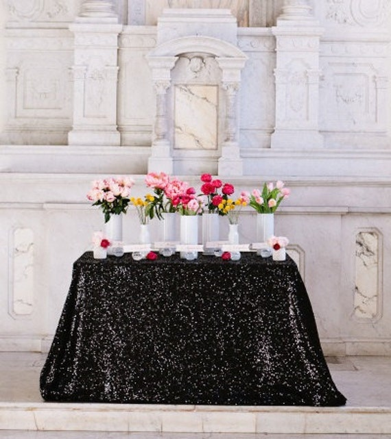 Black Sequin Tablecloth Table Overlay Select By