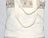 Cotton shopping bag - cream with buttons