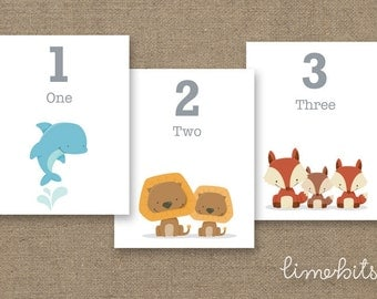 Number Animal Flash Cards. PRINTABLE