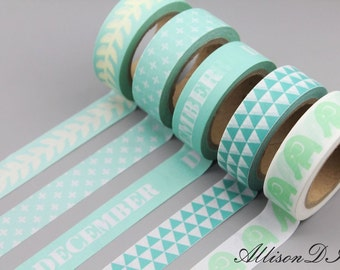Washi Tape - Masking Tape - Japanese Washi - Deco Tape - Gift Wrap - Filofax - MTS040 - 5 roll