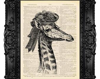 Giraffe Nursery Mixed Media Digital Print Wall Art Wall Hanging Wall Decor Drawing Illustration Poster Giraffe Poster Giraffe Dictionary 454