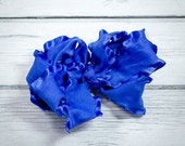 PRICE CUT: Royal Blue Double Ruffle Boutique Bow