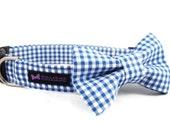 Blue Gingham Dog Collar Bow Tie Set