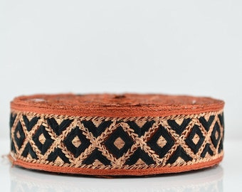 Lace Trim, Embroidered Lace Trim, Border, Indian Style, Floral, Jacquard, Geometric, Black, Brown, Gold Thread - 1 meter