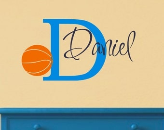 Basketball Wall Decal with Personalized Name - Sports Theme Room Decor - Monogrammed Vinyl Lettering for Boy- Teen Room - Basketball Decor
