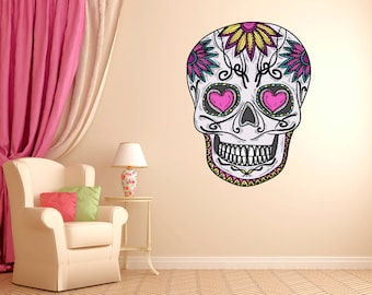 Mexican Sugar Skull Daisy Wall Decal dia de los muertos Art Vinyl Wall Decal Graphics 22