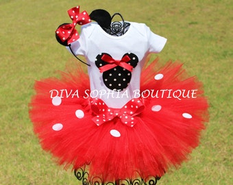 Red Minnie Mouse Tutu Birthday Set