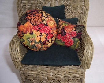 """Wicker doll chair with 21 handmade miniature pillows 4 seasons and holidays chair 9"""" x 5"""""""