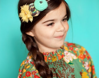 Teal Gray Yellow Rosettes Headband ,Tulle  Yellow Flower Headband for girls of all ages