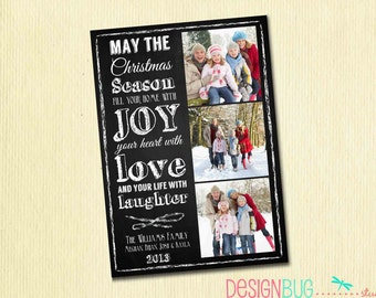 Chalkboard Christmas Card - Family Photo Christmas Card - Christmas Quote on Chalkboard - 3 Pictures - Printable Card, Digital File