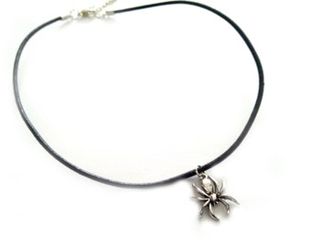 Spider Charm Choker, Silver and Black Leather Cord Choker Necklace, Little Charm Jewelry, Silver Plated