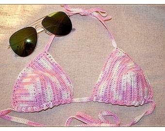 Handmade crochet bikini top, tank, size S/M, hipie, cotton, summer pastel pink, ivory colors, ready to ship, cheap