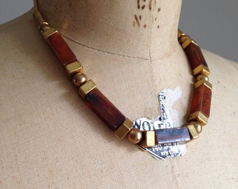 vintage mod geometric necklace / statement necklace