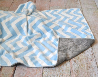 Blue Chevron and Gray Blanket - Ultra Soft Minky Blanket - Personalized Blue Chevron and Gray Baby Blanket