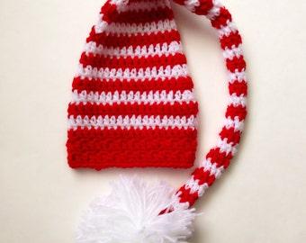 Baby Elf Hat, Baby Stocking Hat, Crochet Elf Hat, Infant Stocking Cap, Newborn Hat, Christmas Hat, Baby Christmas Hat