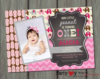 Elephant Birthday Invitation, First Birthday Invitation, Carnival Birthday Invitation, Little Peanut Invitation, Birthday Invite
