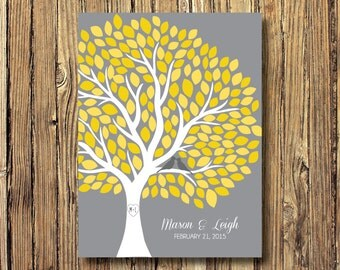 Wedding Tree Guestbook Alternative Art Print-Leaves-Guest Book-Poster OR Canvas-16x20-18x24-20x30-24x36-White-Grey-Yellow-Custom Colors