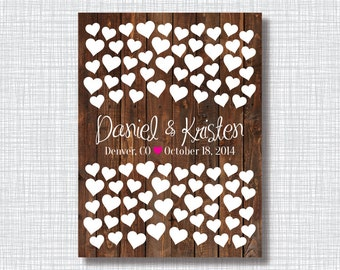 Wedding Guestbook Alternative Art Print-Hearts-Wood Background-Custom Colors-Couple's Names-Guest Book-Poster OR Canvas-18x24-20x30-24x36