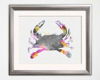 Crab Art, Crab Watercolor, Crab Print, Colorful Crab Illustration, Crab Art Print, Palm Beach Chic, Gray Bathroom Wall Art, Beach House