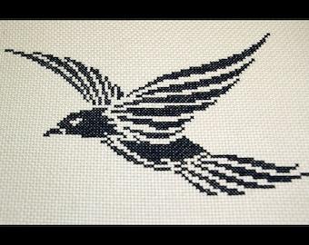Crowe Cross Stitch Pattern, Tribal Cross Stitch Pattern, Raven Embroidery Chart, Trickster Crow Pattern, Black Bird Pattern Instant Download
