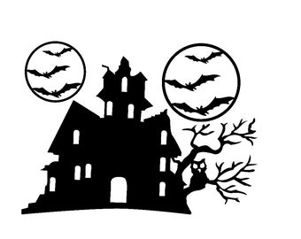 Halloween Window Cling set of a Haunted House, Tree and Bats Around a Moon