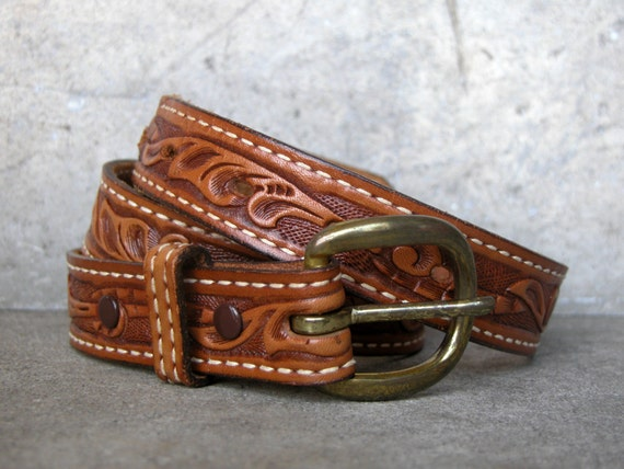 vintage tooled genuine leather belt made in usa by