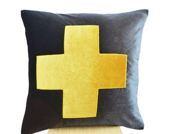Grey Pillow Cover, Yellow and Grey Velvet Pillows, Velvet Cushion Cover, Geometric Throw Pillow, Square Pillow 16X16, Housewarming Gift