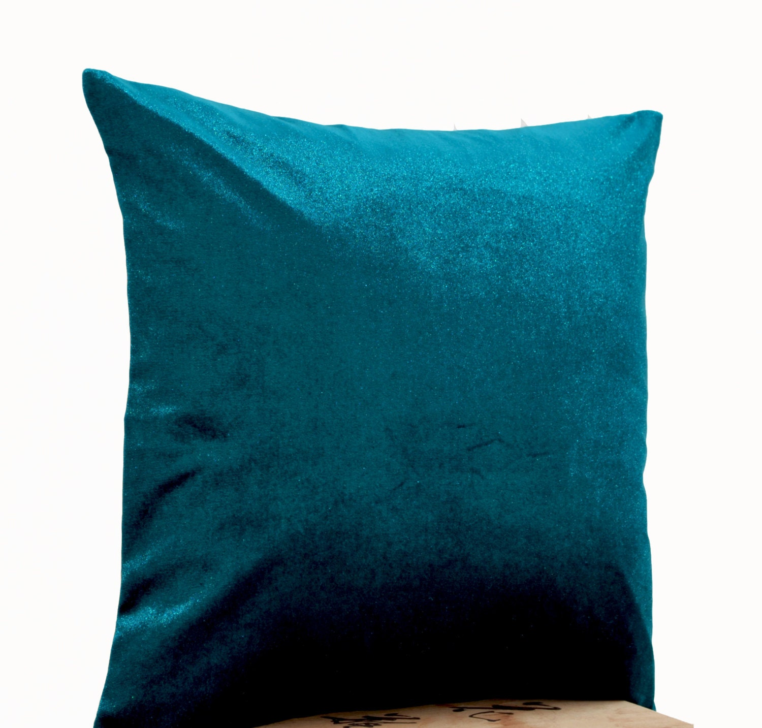 Lush Teal Velvet Oatmeal Linen Pillow Teal Pillow Case