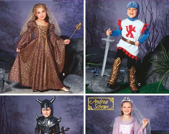 Simplicity 5520 Kids Medieval Costumes: Two Knight Variations and Two Princess Variations Size 3, 4, 5, 6, 7, and 8